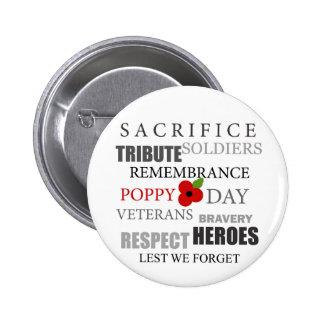 Poppy day words - Badge 2 Inch Round Button