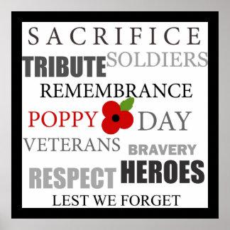 Poppy day words - Poster