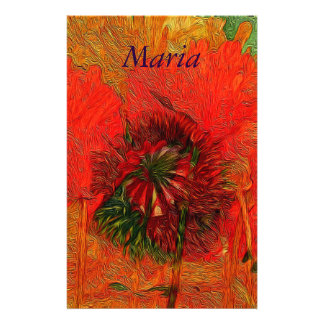 Poppy Field 13 Luscious Red Floral Customized Stationery
