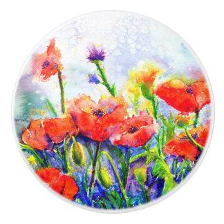 poppy field ceramic knob