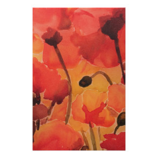 Poppy field custom stationery