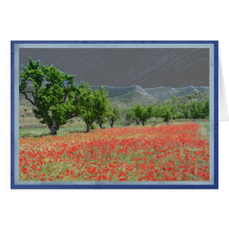 Poppy field in Aliaga, Spain. Card