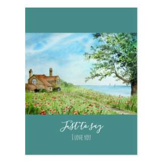 Poppy Field Landscape Watercolor Painting Postcard
