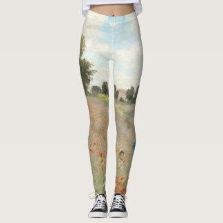 Poppy Field Monet Flowers All Over Print Leggings
