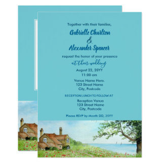 Poppy Field Watercolor Painting Wedding Invitation
