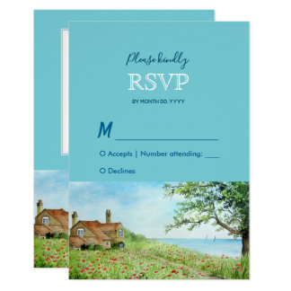 Poppy Field Watercolor Wedding Response RSVP Card
