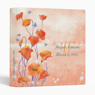 Poppy Field Wedding Photo Album 3 Ring Binder