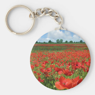 Poppy Fields Basic Round Button Keychain