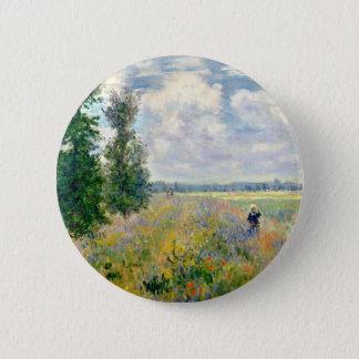 Poppy Fields near Argenteuil by Claude Monet 2 Inch Round Button