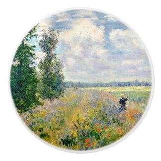 Poppy Fields near Argenteuil by Claude Monet Ceramic Knob
