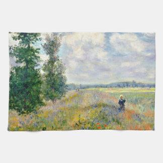 Poppy Fields near Argenteuil by Claude Monet Kitchen Towel