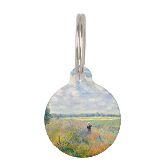 Poppy Fields near Argenteuil by Claude Monet Pet ID Tag