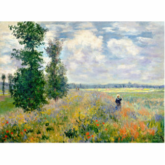 Poppy Fields near Argenteuil by Claude Monet Photo Sculpture Button