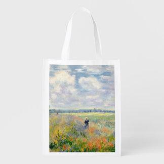 Poppy Fields near Argenteuil by Claude Monet Reusable Grocery Bag