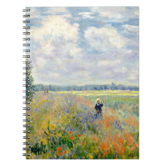 Poppy Fields near Argenteuil by Claude Monet Spiral Notebook