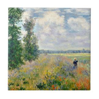 Poppy Fields near Argenteuil by Claude Monet Tile