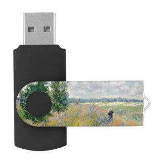 Poppy Fields near Argenteuil by Claude Monet USB Flash Drive