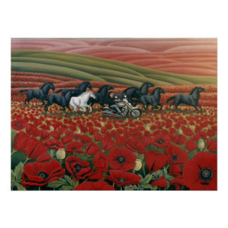 Poppy Fields Painting Wild Horses & Bikers Prints