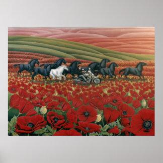 Poppy Fields Painting Wild Horses & Bikers Prints