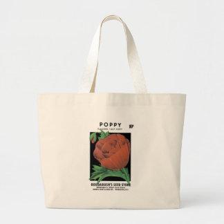 Poppy, Flanders Tulip, Roudabush's Seed Store Large Tote Bag