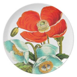 Poppy Floral Garden Botanical Flower Plate