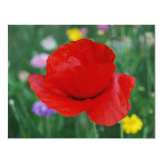 Poppy flower and meaning 4.25x5.5 paper invitation card