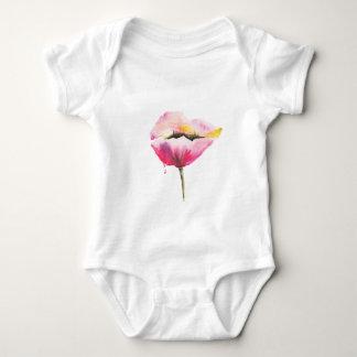 Poppy flower baby bodysuit