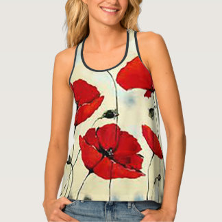 Poppy Flower Painting Racerback Tank Top