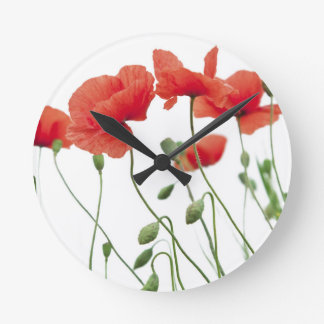 poppy-flower round clock