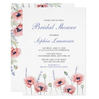 Poppy Flower Wedding Bridal Shower Invitation