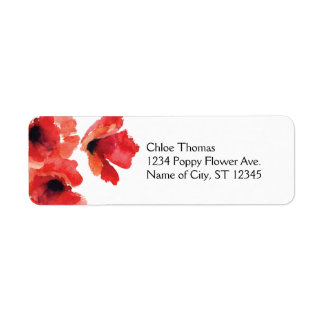 Poppy Flowers Address Label