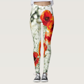 Poppy flowers Al over in warm sunny tons Leggings
