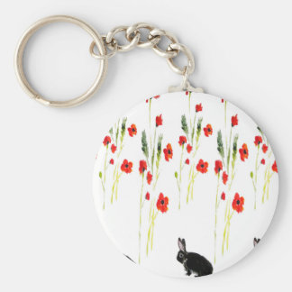 Poppy Flowers and a cute bunny rabbit Basic Round Button Keychain
