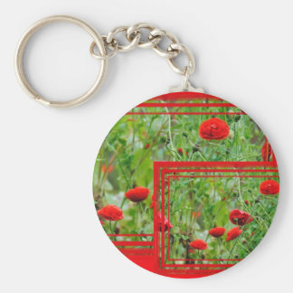 Poppy flowers basic round button keychain