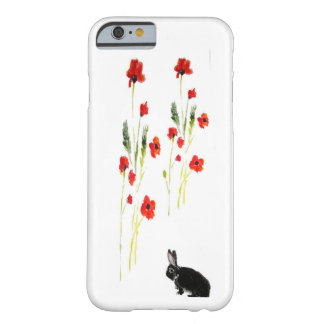 Poppy Flowers Bunny Rabbit Art Barely There iPhone 6 Case