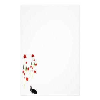 Poppy Flowers Bunny Rabbit Custom Stationery