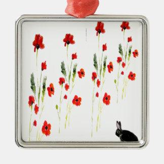 Poppy Flowers Bunny Rabbit Metal Ornament
