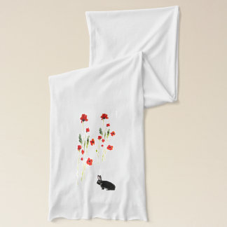 Poppy Flowers Bunny Rabbit Scarf