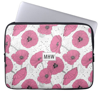Poppy Flowers custom monogram laptop sleeves
