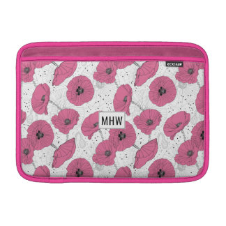 Poppy Flowers custom monogram Macbook sleeves