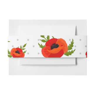 Poppy Flowers Invitation Belly Band