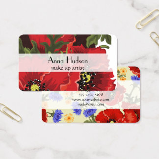 Poppy Flowers, Petals, Leaves - Red Green Black Business Card