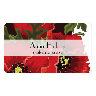 Poppy Flowers, Petals, Leaves - Red Green Black Pack Of Standard Business Cards