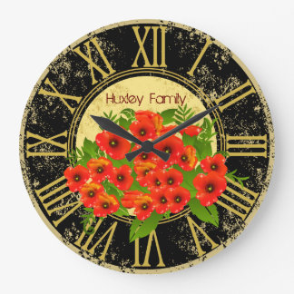 Poppy Flowers Vintage Wall Clock