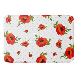 Poppy Flowers with Polka Dots Background Bath Mat