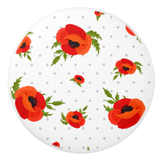 Poppy Flowers with Polka Dots Background Ceramic Knob