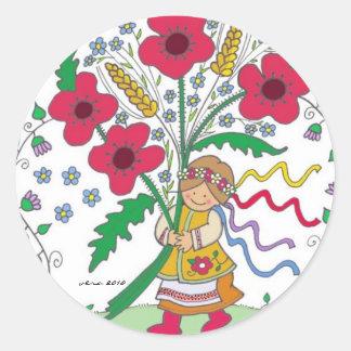 Poppy Girl Ukrainian Folk Art Classic Round Sticker