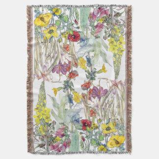 Poppy Iris Crocus Foxglove Flowers Throw Blanket