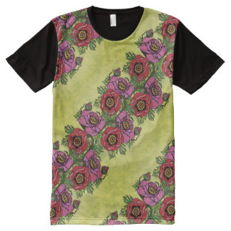 Poppy-ish & Distressed All-Over-Print T-Shirt
