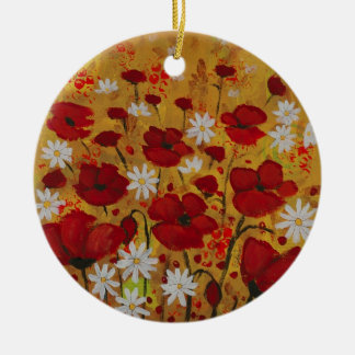 Poppy Meadow, Red Flowers Round Ceramic Ornament